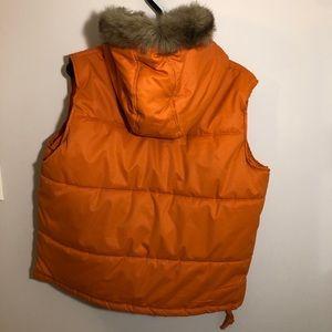 Orange puffer vest